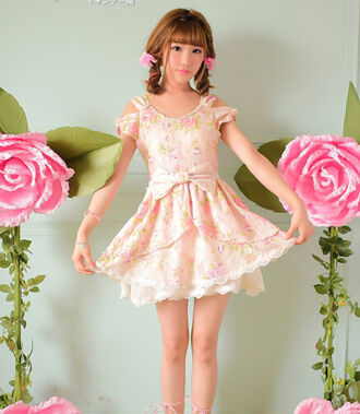 floral dress floral kawaii sweet sweet dress asian fashion korean fashion kfashion cfashion chinese fashion japanese fashion tokyo fashion bows bowknot bowknot dress doll living doll lolita