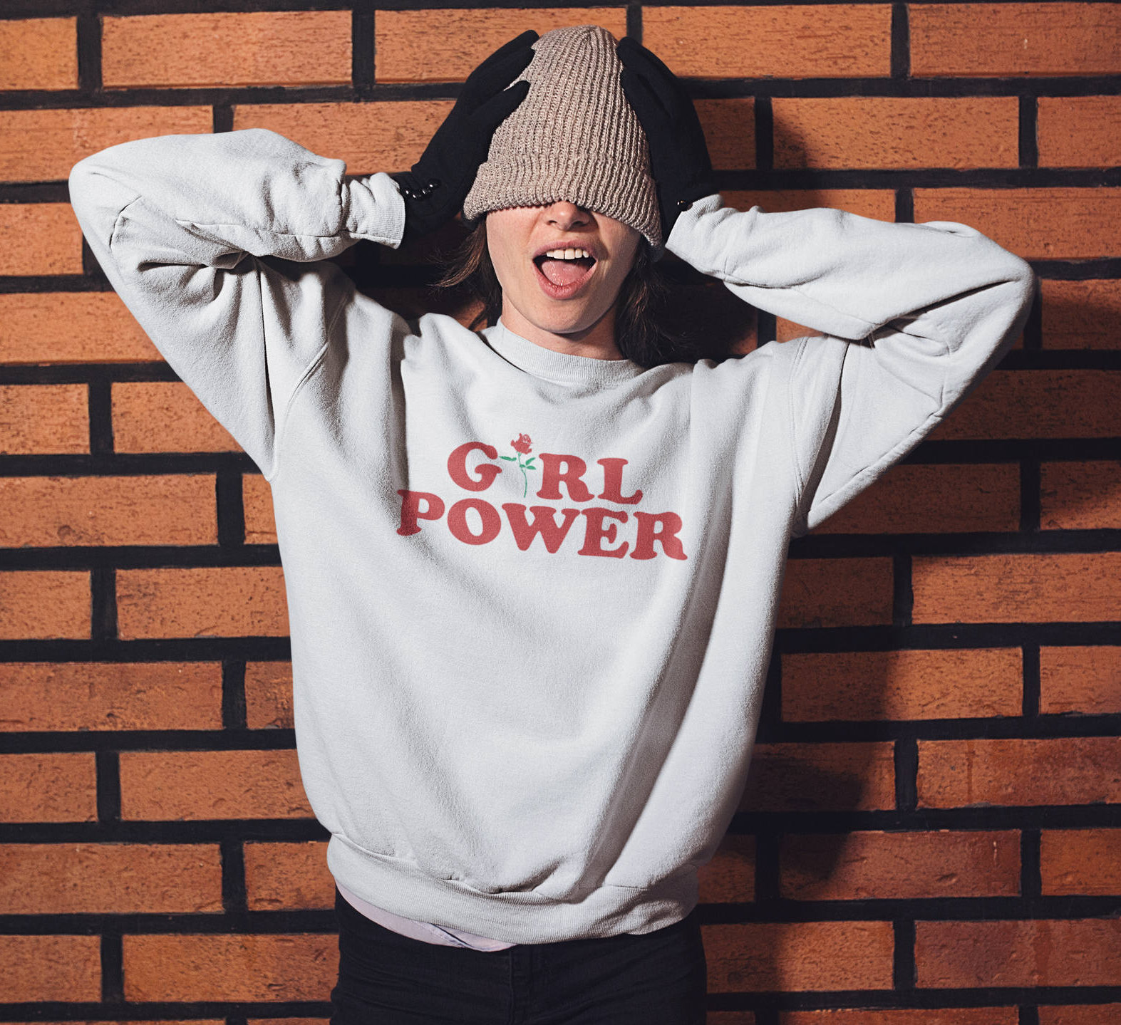 Feminism Girl Power Sweatshirt, Girl Power Sweater Feminist Super Soft Feel, Crewneck Sweatshirt Girl Power Rose 100% Cotton Unisex Outfit