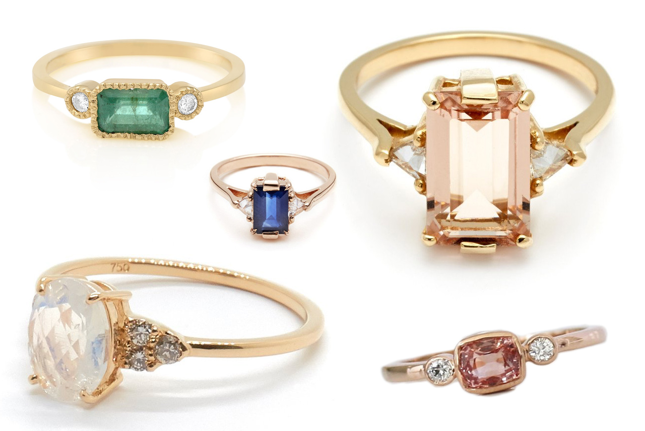 Ditch the Diamond — Alternative Engagement Rings Featuring a Colored Stone - Green Wedding Shoes