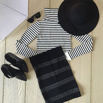 skirt divergence clothing pencil skirt black pencil skirt bb dakota skirt bb dakota boss boss lady floppy hat crop tops stripe crop top sexy fall outfits black skirt like a boss black floppy hat black stilettos striped top kim kardahsian high waisted skirt