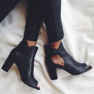 shoes opentoedboots ankle boots blackleatherankleboots opentoe