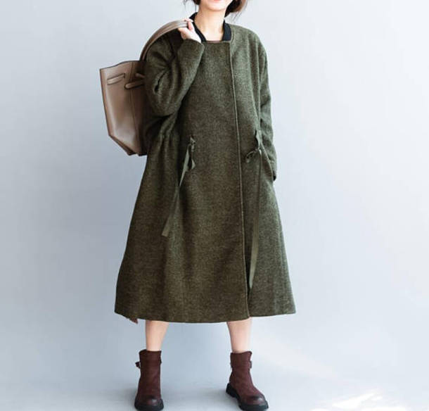 coat wool long coat army green overcoat