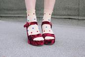 shoes,wedges,velvet,velvet shoes,tumblr shoes,red velvet,ankle strap heels,velvet sandals