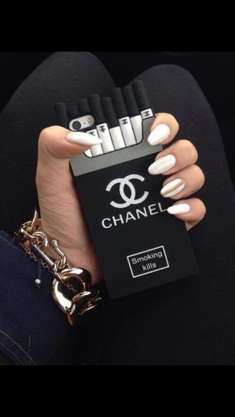 phone cover tumblr classy elegant chanel iphone cover black white grey cute feminine instagram smoking kills
