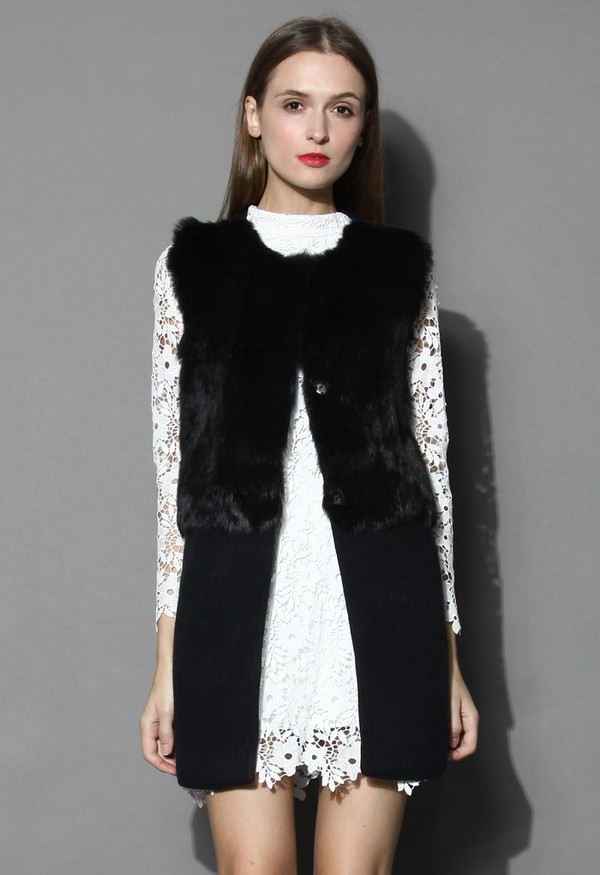 chicwish faux fur sleeveless coat knitted coat