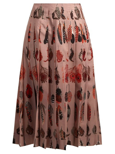 Altuzarra - Sirocco Feather Print Pleated Skirt - Womens - Beige Print