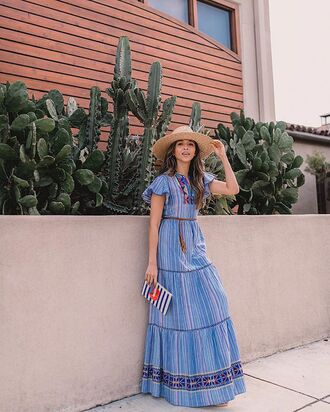 hat dress long dress blue dress bag big hat