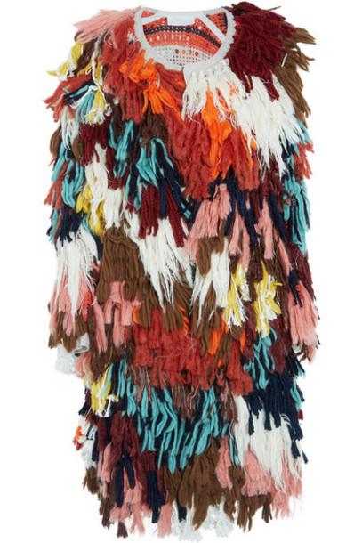 Chloé Chloé - Fringed Wool-blend And Crochet-knit Cotton Cardigan - Brown
