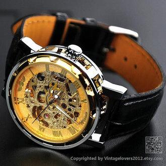 jewels watch steampunk gold watch man watch leather watches