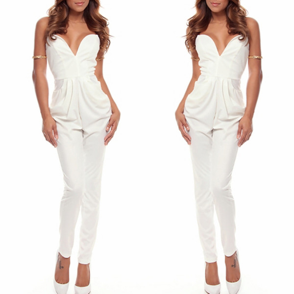 jumpsuit white jumpsuit sweetheart neckline