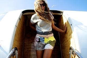 shorts white yellow blue cute pants high waisted shorts shirt patchwork shorts