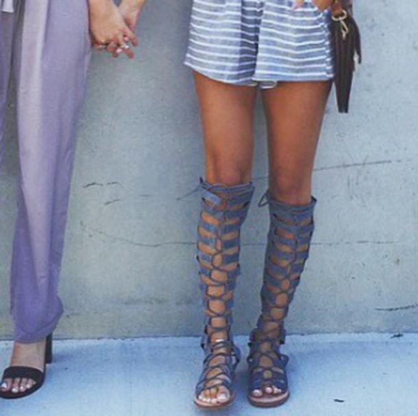 c618aae4a30f shoes gladiators indigo grey knee high gladiator sandals lace up beautiful