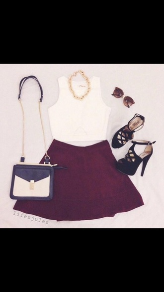 skirt burgundy crimson knee length crop tops white necklace classy sophisticated maroon/burgundy high heels sunglasses fashion shoes