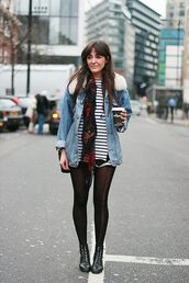 jacket,shearling denim jacket,denim jacket,shearling jacket,shearling,blue jacket,top,striped top,stripes,shorts,black shorts,tights,boots,black boots,ankle boots,scarf,fall outfits