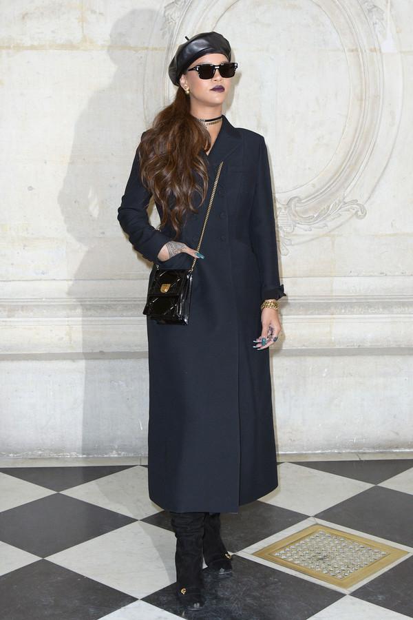 hat beret Paris Fashion Week 2017 fashion week 2017 rihanna coat
