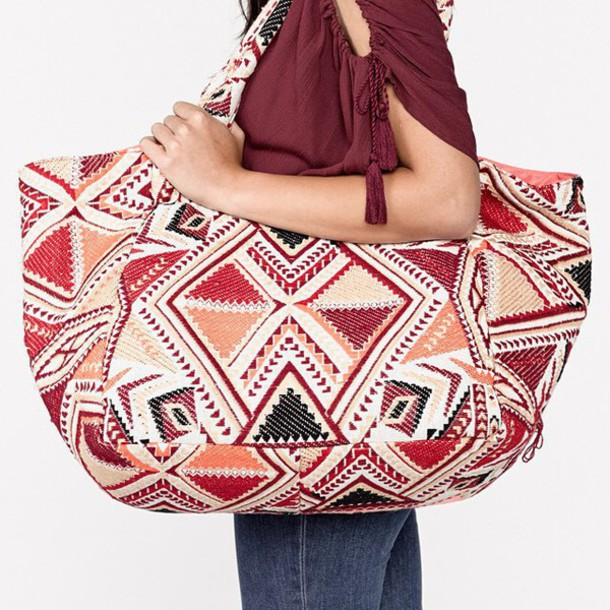 Bag: tote bag, aztec, tote bag, large tote, purse, beach bag ...