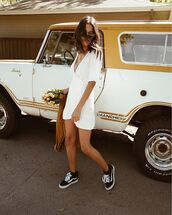 shoes,dress,white dress,short dress,sneakers,vans,sunglasses,summer