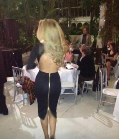 dress zipper bodycon dress backless dress black fashion style little black dress