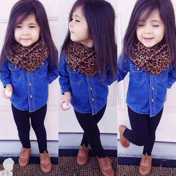 scarf little girl cute denim shirt leopard scarf