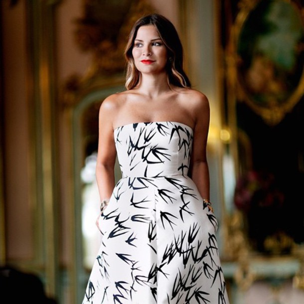 dress, rochas, black and white, long dress, gown, romantic, evening ...