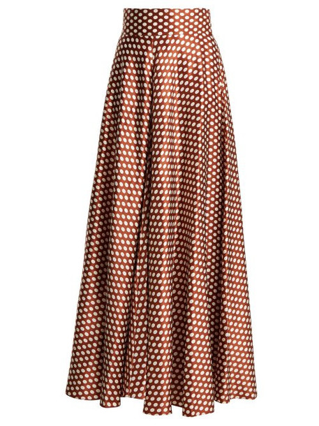 Diane Von Furstenberg - Baker Polka Dot Silk Skirt - Womens - Brown White