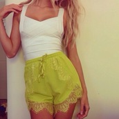 shorts,laces,blogger,chiara ferragni,lace dress,shirt,white top,bodycon,yellow,lace shorts