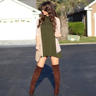 shoes green forest green green dress dark green shift dress tunic cardigan beige cream fringes western brown thigh high boots thigh high boots boots thigh highs over the knee over the knee boots turtleneck turtleneck dress asymmetrical