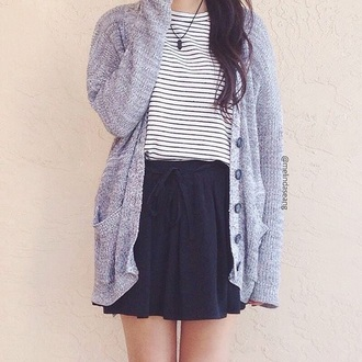 cardigan shirt skirt