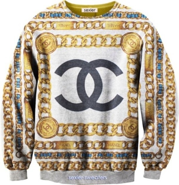 sweater chanel chain sexy sweater