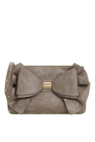 bow oversized couture bag clutch grey