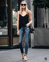 top,tumblr,camisole,black top,denim,jeans,blue jeans,skinny jeans,sandals,sandal heels,high heel sandals,round sunglasses,bag,black bag,shoes