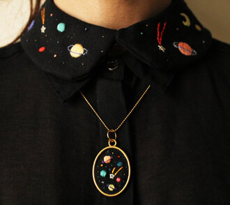 shirt collar peter pan collar space t-shirt necklace clothes science