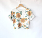 shirt,top,crop,tumbr,cuff sleeve,sunflower,pattern,white,grey,green,yellow,orange,flowers,trendy,cute,t-shirt,bag,fashion,floral,daisy,crop tops,vintage,blouse,sunflower shirt,crop tank,white tank top,colorful,brand,pretty,oversized t-shirt,summer,flowered print blouse,tank top,short sleeve,hipster,sunflower tshirt,sweater,print,floral bikini,floral blouse,shorts,amber rose,sunflowers top,white crop tops,grunge,pale,pastel,flower shirt,girly tshirt,spring 2015