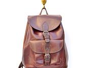 vintage brown leather backpack by santokivintage on Etsy