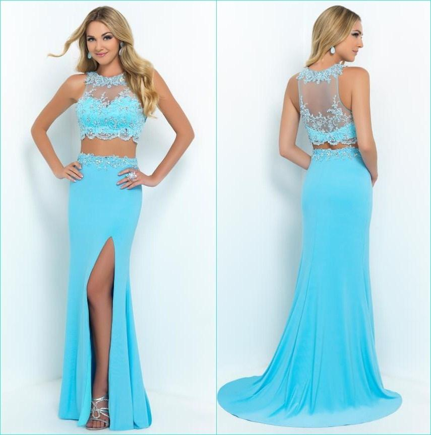 Discount 2015 Designer Two Piece Evening Dresses Sky Blue Jewel Neck Beaded Lace Applique Sleeveless Sheath Court Train Side Slit Chiffon Formal Gown Online with $127.58/Piece | DHgate