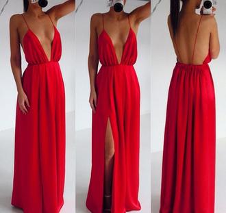 dress red red dress prom dress v dress