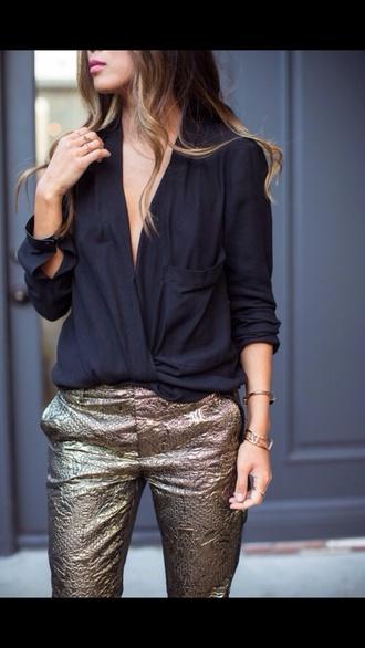 blouse black draped drapey deep v neck pocket shirt three-quarter sleeves pants
