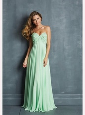 dress,flowers,a line,green dress,prom dress,empire waist,turquois,straples