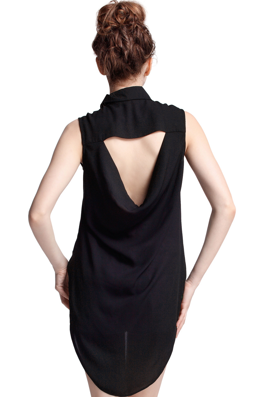 ROMWE | Triangle-shape Cut-Out Black Shirt, The Latest Street Fashion
