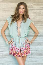 dress,floral kimono cover up,opens in the front,adjustable drawstring,love balconette bikini,paradizia swim