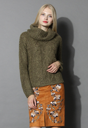 sweater,cable knit roll neck sweater in olive,chicwish,olive green,turtleneck sweater,winter sweater