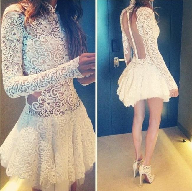Hot sexy show body lace dress qq89