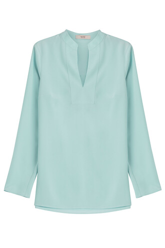 blouse tunic silk turquoise top