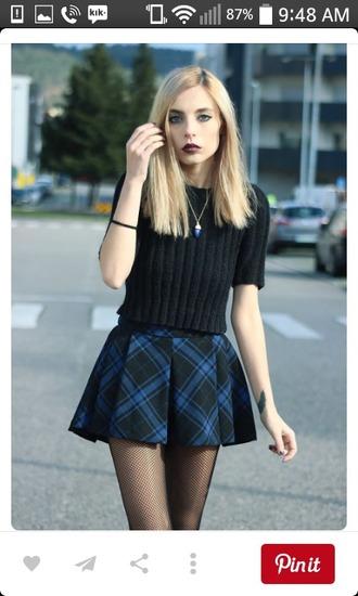 skirt plaid skirt ruffled skirt blue grunge top