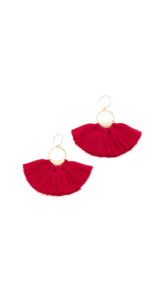 tassel earrings gold red jewels