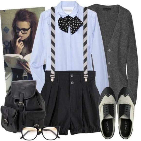 bag backpack shoes clothes nerd glasses oxfords suspenders cardigan