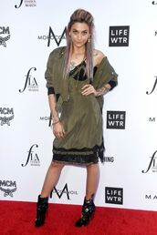 dress,khaki,midi dress,jacket,ankle boots,paris jackson,bomber jacket,shoes