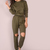 Slouchy Sleeve Knee Cut Out Jumper OLIVE -SheIn(Sheinside)