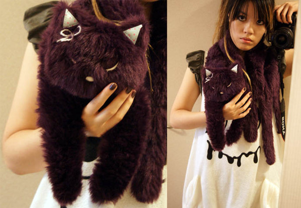scarf cats creepy cute purple pastel kawaii pastel goth stuffed animal