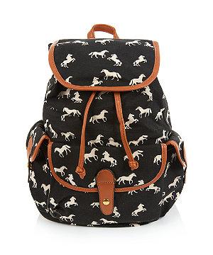 Black horse print backpack